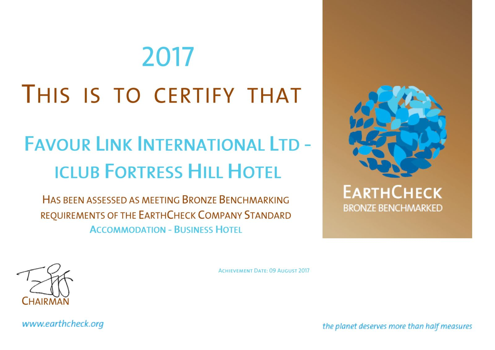 EarthCheck Bronze Benchmarking Certification 2017