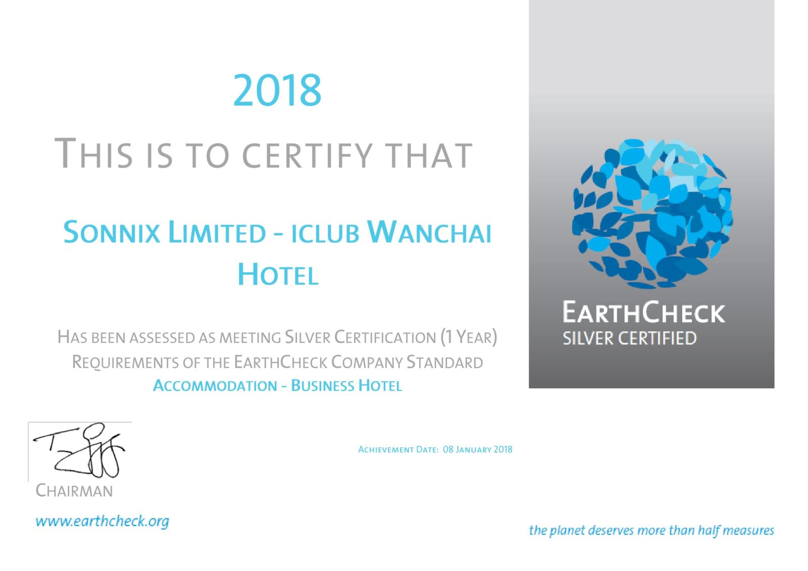 EarthCheck Certified, Silver 2018